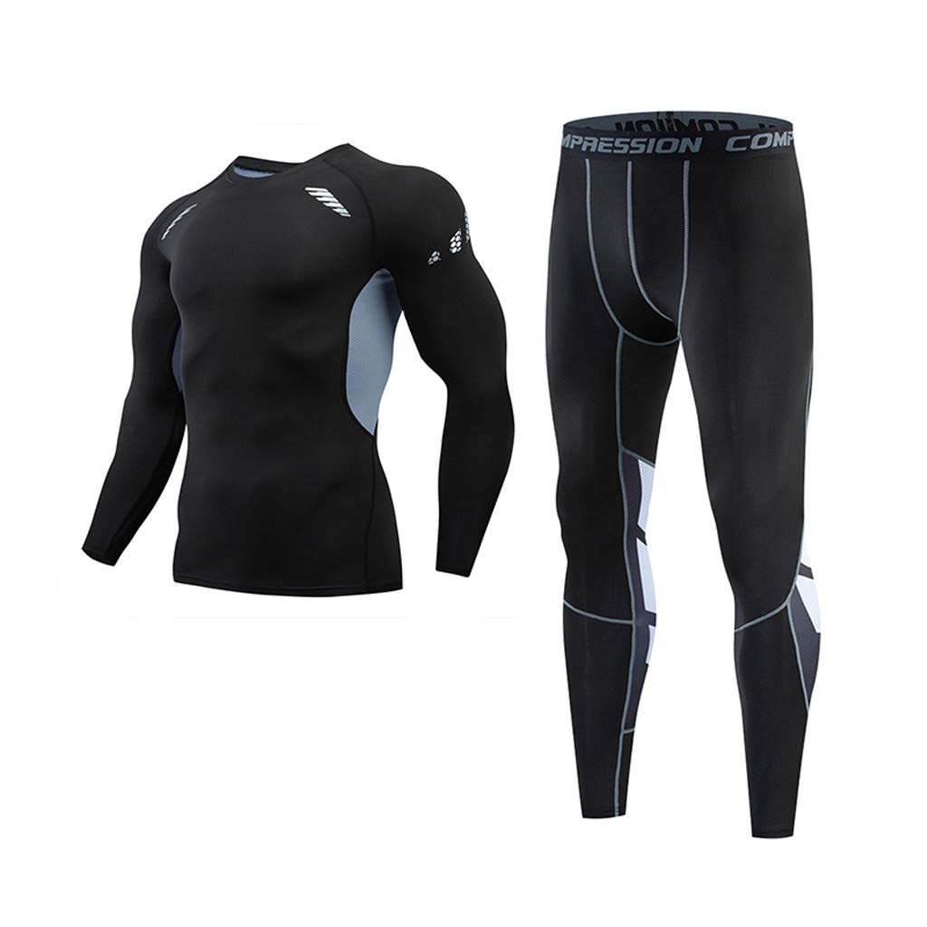 Mr.Macy Mens Casual Fitness Fast Drying Elastic Long Sleeve Long Pants Sports Suit
