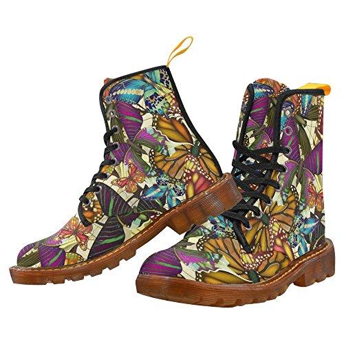 Scarpe Da D-story Seamless Con Farfalle Colorate Stringate Martin Boots Da Donna