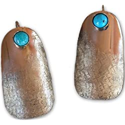 Silk Textured Hand Forged Rounded Barrel Earrings - Turquoise