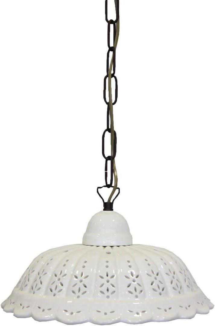 Lámpara de techo de latón con cadena y plato cerámica perforada 22 ...