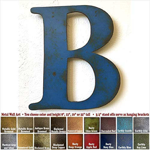 """Metal Letter B - 8"""", 12"""", 16"""", 22"""", 30"""" or 35"""" tall inch tall - Handmade metal wall art - Choose your Patina Color, Size and Letter or Number- Hanging letters for Living Room, Bedroom or Nursery"""