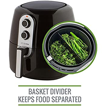 5.2L XL Air Fryer with Cooking Divider, Rack & Recipe Book. Perfect Sized Family Air Fryer, Simple Living Products