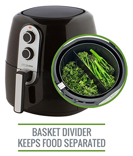 5.2L XL Air Fryer with Cooking Divider, Rack & Recipe Book. Deluxe 60 Minute Timer. Perfect Sized Family Air Fryer, Simple Living Products by Simple Living Products