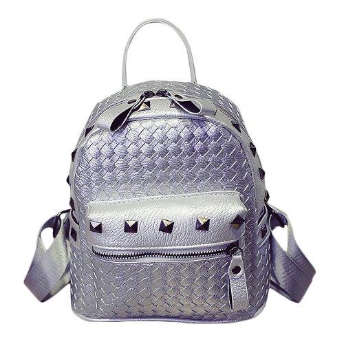 E8Q mujeres que hace punto ocasional de la PU del cuero De muy buen gusto del remache mochila escolar Bolsas