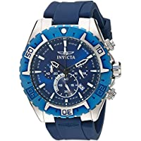 Invicta Men's 'Aviator' Quartz Stainless Steel and Silicone Casual Watch, Color Blue (Model: 22522)