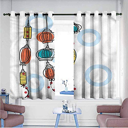 Mdxizc Bedroom Windproof Curtain Lantern Colorful Doodle Oriental Printing Insulation W72 xL72 Suitable for Bedroom,Living,Room,Study, etc. ()