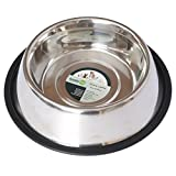 Iconic Pet 2-Cup Stainless Steel Non-Skid Pet Bowl for Dog or Cat, 16-Ounce