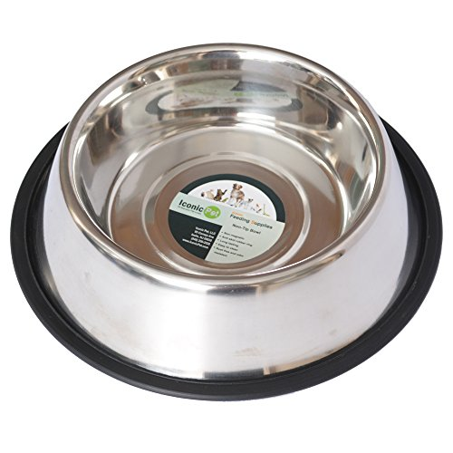 (Iconic Pet 64 oz / 8 Cup Stainless Steel Non Skid Pet Food/Water Bowl with Rubber Ring - Rust Free, Dog/Cat Feeding Bowl is Dishwasher Safe, Noise Free, Anti Skid and Stable Kitten/Puppy Dish)