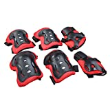 Elisona-Kid's Knee Pads Elbow Wrist Protective Gear Pads for Children Kids Cycling Roller Skating Set of 6 Red
