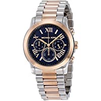 Michael Kors Women's Cooper Watch, Silver/Rose Gold/Navy, One Size