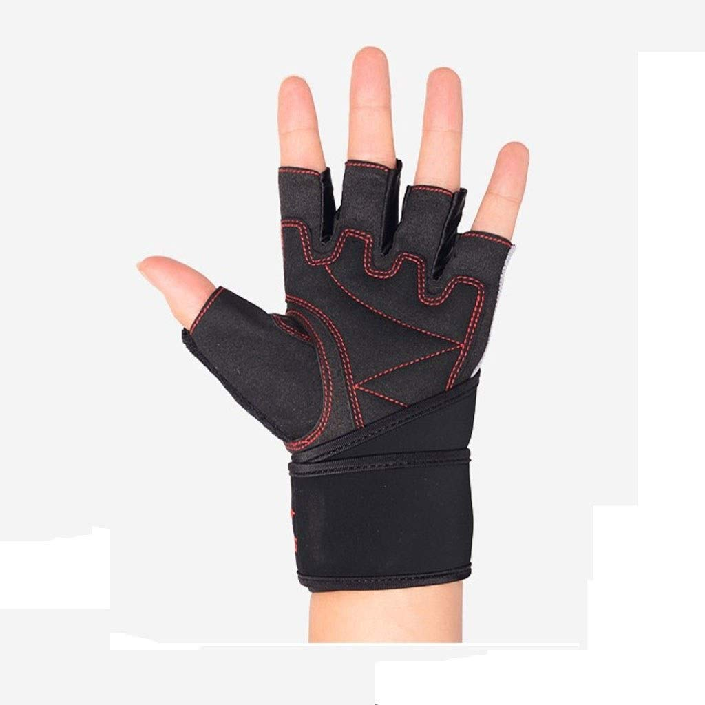 CML Home Sports Gloves Half Finger Fitness Gloves, Indoor Outdoor Fitness Cycling Sports Gloves, Pull-ups, Equipment Training, Sports Protective Gear Black (Pair) (Size : L) by CML Home