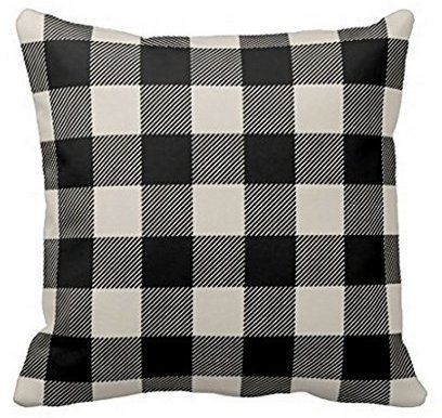 - Rdkekxoel BabysSJ Polyester Cotton Black and Beige Preppy Buffalo Check Plaid Pillow Case 1818
