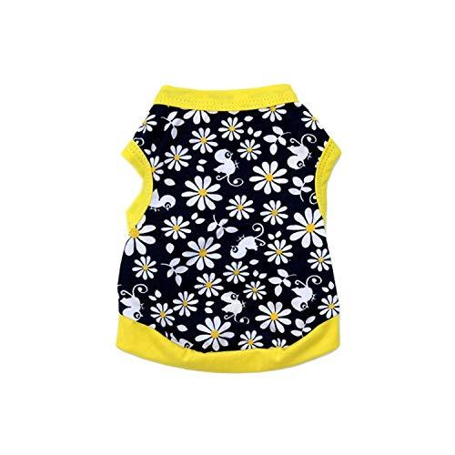 - 1 PC Summer Pet Clothes for Small Dog XS-L Fashion Pet Tank Dog Cat Floral Bird Printed T-Shirt Vest Apparel 40A20,Black,L