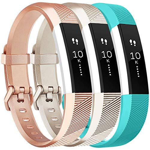 Vancle Bands Replacement for Fitbit Alta HR and Fitbit Alta (3 Pack), Newest Sport Replacement Wristbands with Secure Metal Buckle for Fitbit Alta HR/Fitbit Alta (Champagne Rose-Gold Teal, Large)
