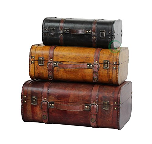 Vintiquewise(TM) 3-Colored Vintage Style Luggage Suitcase/Trunk, Set of 3 (Vintage Leather Luggage)