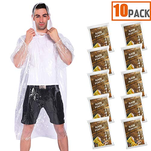 COOY Rain Ponchos Drawstring Hood (10 Pack) Emergency Disposable Rain Ponchos Family Pack Adults,Fit Men Women, Perfect Disneyland,Clear (Moderate Coverage Back)