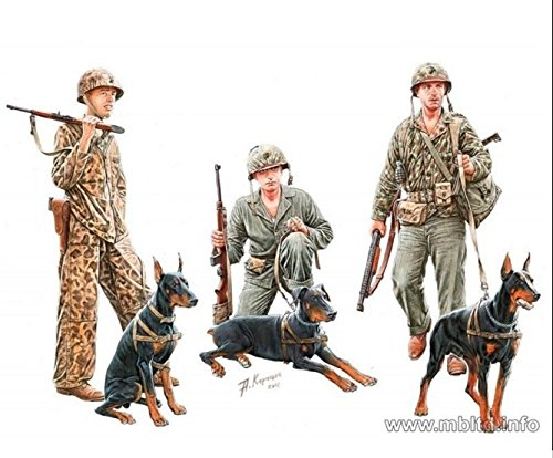 DOGS IN SERVICE IN THE US MARINE CORPS, 3 FIGURES + 3 DOGS 1/35 MASTER BOX 35155 by Masterbox