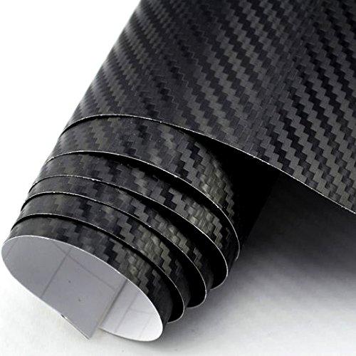 3D Carbon Folie schwarz BLASENFREI 0,3m x 1,52m mit Luftkan/äle