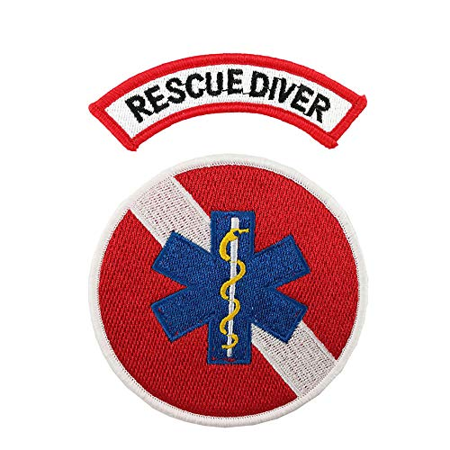 Rescue Diver Chevron Embroidered Iron on sew on Patch EMT Emblem 2 Pieces Set
