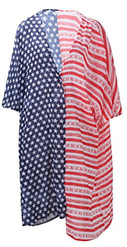 Lewi Brun - Damen Oversized Sommer Kimono, Cardigan Stars & Stripes Amerika-Flag-Style, XS-XL, Mehrfarbig