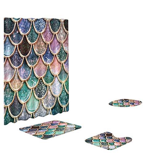 (Lovygaga 4PCS Non Slip Toilet Polyester Cover Mat Set Bathroom Shower Curtain)