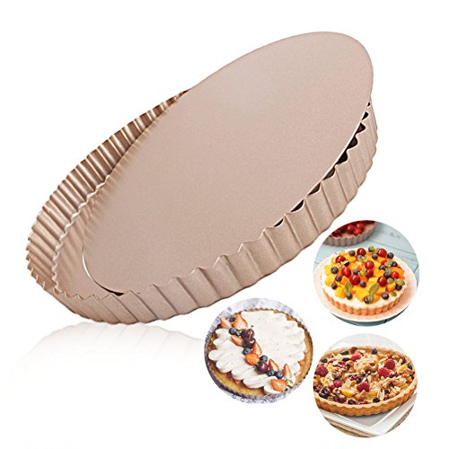 LUFEIYA Tart Pan Round Nonstick 9.5 inch Removable Loose Bottom Quiche Pie Pan Gold by LUFEIYA