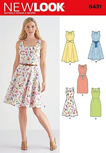 New Look Ladies Sewing Pattern 6431 Dresses in 5 Styles with Pleat Neckline ...