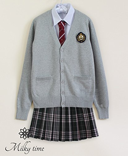milky time uniform classic ladies V neck high school junior JK JC cosplay costumes schoolgirl costume Blazer Cardigan blouse Y shirt tie pleated skirt (L, gray)