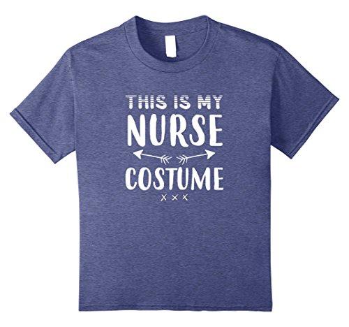Kids Funny THIS IS MY NURSE COSTUME Halloween T-Shirt 10 Heather Blue