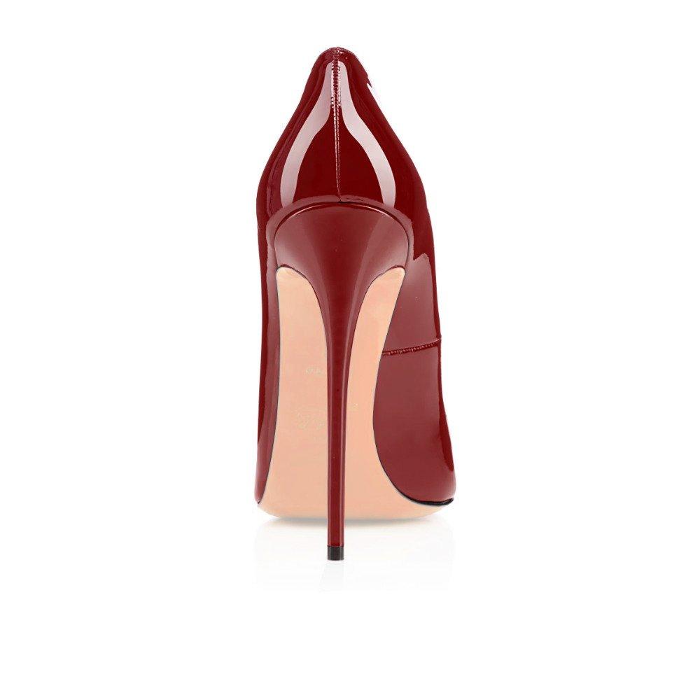 Soireelady Heels,Übergröße Damen Peep Toe Pumps,Stilettoabsatz High Heels,Übergröße Soireelady Lack Schuhe Wine ROT 1cb2ad
