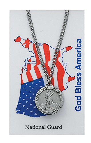 "Adult Pewter Saint. St. Michael the Archangel Pewter US Military National Guard Medal Necklace, 24""."