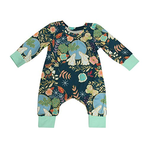 Puseky Baby Boys Girls Rabbit & Moon Cute Long Sleeve Romper Jumpsuit Bodysuit (0-6 Months, Dark Green)