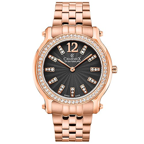 Charmex Women's EZE 31.5mm Rose Gold-Tone Steel Bracelet & Case Quartz Black Dial Analog Watch 6346