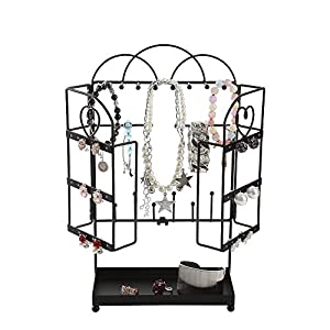 GiftWay Metal Foldable Jewelry Organizer Tree Rack for Bracelet, Earrings, Necklace with Ring Tray, Black
