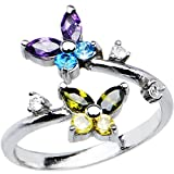 Body Candy Women's 925 Sterling Silver Dazzling Butterfly Toe Ring, One Size