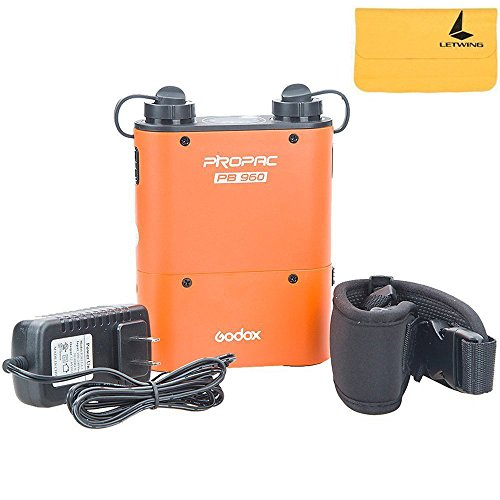 GODOX PB960 Propac 4500mAh Flash Power Battery Pack Kit with Dual Output for GODOX AD360 AD180 Flash Canon 580EX II, 580EX, 550EX, Nikon SB-900 SB-800 SB-80DX, SONY HVL-F58AM HVL-F43AM, Metz Flash by Godox