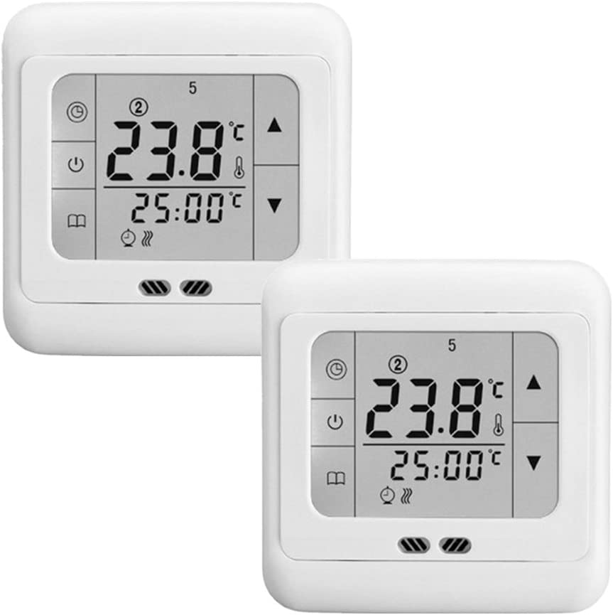 SAILUN 2 x Termostato programable digital con pantalla tactil (lectura de temperatura, LCD pantalla 60 x 45 mm), Luz blanca: Amazon.es: Hogar