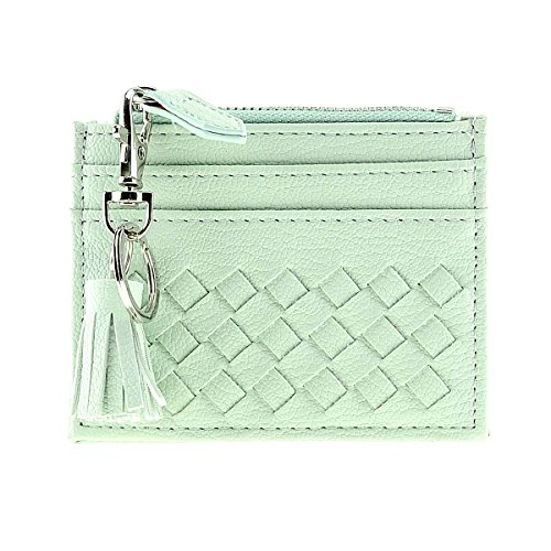 RFID Blocking Genuine Leather Compact Card Wallet Credit Card Case Organizer with Key Ring (Green) by XeYOU
