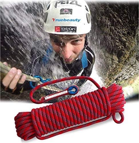 登山ロープ、20mm 屋外ハイキングアクセサリー高強度コード安全ロープクライミング安全スリング懸垂下降ロープ補助10m、15m、20m、30m,Red,30m