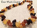 Baltic Amber 12.5 Inches Raw Unpolished Flower Cluster Multi Teething Necklace for Babies Baby, Infant, and Toddlers. Anti inflammatory, Drooling & Teething, red cheeks and fussiness.