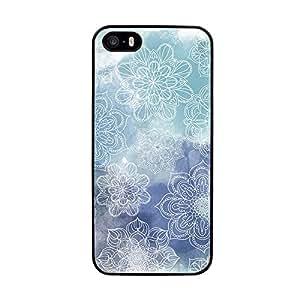 Funda carcasa TPU (Gel) para Apple iPhone 5 5S estampado mandala azul borde negro