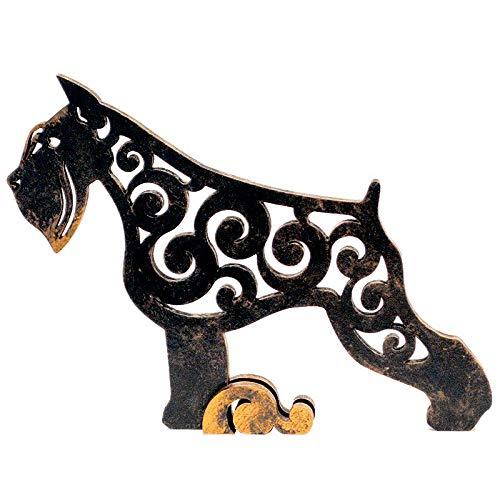 Black Schnauzer dog figurine, dog statue made of wood (MDF), statuette hand-painted