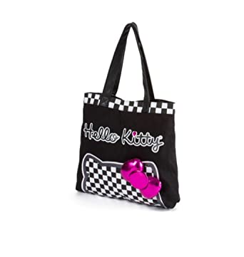 58967ea37 Image Unavailable. Image not available for. Color: Hello Kitty Checkered Tote  Bag With Metallic Pink Bow