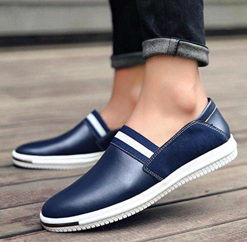 Mocasines Zapatillas Canvas Deslizamiento-ons Pieles puras transpirables Hombres clásicos ligeros zapatos deportivos ocasionales UE tamaño 37-43 Blue