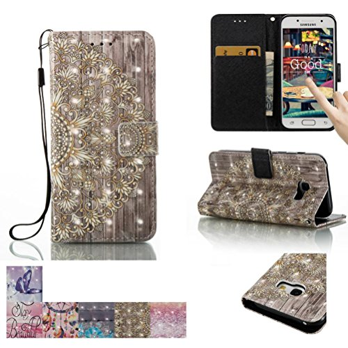 Galaxy A3 2017 Case, Firefish [Card Slots] [Kickstand] Flip Folio Wallet [3D Painting] Case Shell Scratch Resistant Protective Cover for Samsung Galaxy A3 (2017) -Golden Flower A3 Rubber