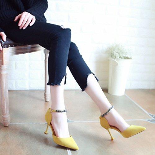 con Zapatos Estilo único Xue de luz Zapatos de Tacones Plana Zapatos de Fino de Qiqi Sandalias Mujer Baile Tribunal Punto Naranja Zapatos Altos wOpZwHxUq