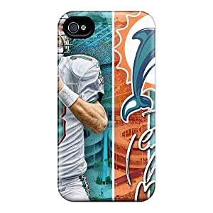 Shock Absorbent Cell-phone Hard Cover For Iphone 4/4s With Custom HD Miami Dolphins Skin AnnaDubois