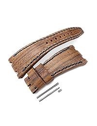 Brown Oak Wood Leather of Art Watch Strap for Audemars Piguet Royal Oak Offshore, Navy St