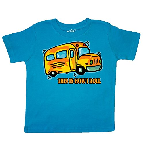 inktastic - How I Roll School Bus Toddler T-Shirt 2T Turquoise 27d30