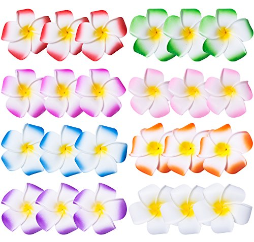 24 Pack 2.5 Inch Hawaiian Plumeria Flower Foam Hair Clip, Hawaiian Hair Flower, Vacation Outfit, for Bridal Wedding, Party, Beach, for Girls Teens Kids -